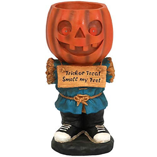 Sunnydaze Halloween Large Statue with Built-in Candy Bowl Dish with LEDs, Jack The Scary Pumpkin, 28-Inch Tall