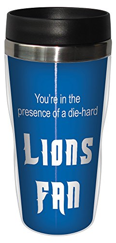 Tree-Free Greetings sg24117 Lions Football Fan Sip 'N Go Stainless Steel Lined Travel Tumbler, 16-Ounce