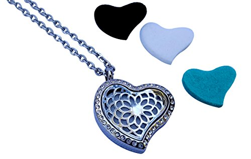 Luxury Aromatherapy Essential Oil Diffuser Necklace, Heart Locket Pendant with crystals by Essence Of Arcadia, Now available in US with 5-star UK/Euro rating (Includes 9 Oils Pads-Christmas Gift (Crystal Solid Heart)