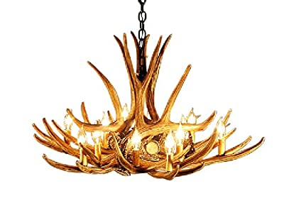 Rustic Mule Deer 9 Antler Chandelier with 12 Lights