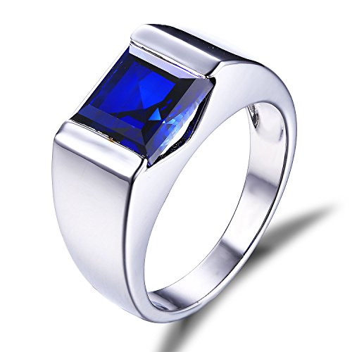 Jewelrypalace Mens 3.4ct Square Created Blue Sapphire 925 Sterling Silver Ring Size 9