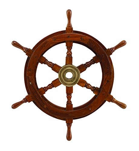 Deco SH8762 Wood Brass Ship Polystone Wheel,, 18-Inch]()