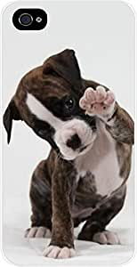 Puppy Waving- Case for the Apple Iphone 4-4s Universal- Hard White Plastic