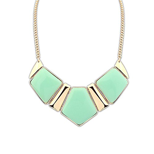 The Starry Night Gem Stone Cutting Style Geometrical Gold Plated Chunky Sweet Green Color Women