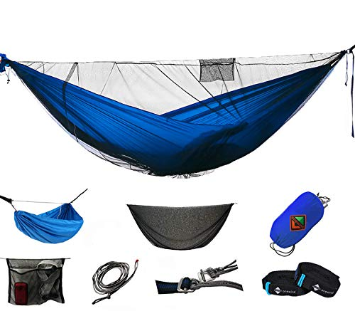 Nylon Single Panel - onewind Camping Hammock with Mosquito Net Tree Straps & Suspension XL System Lightweight Nylon Double Hammock Portable Camping Accessories for Backpacking, Travel, Hiking (Blue, Double)