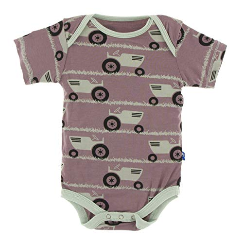 Kickee Pants Little Girls and Boys Print Short Sleeve One Piece - Raisin Tractor and Grass, 3-6 Months (Raisin Girl Infant)
