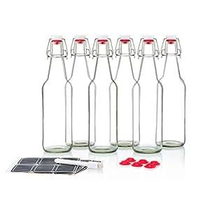 Botellas de cristal transparente con tapón oscilante de 473 ml, estilo Grolsch, para cerveza