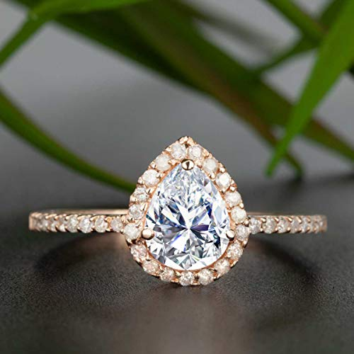 (1.50 Carat Pear Shape Moissanite and Diamond Halo Engagement Ring In Rose Gold)
