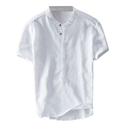 Cotton Vintage Sport Shirt - Mens Linen Henley Shirt Casual Short Sleeve T Shirt Lightweight Tees Retro Frog Button Cotton Summer Beach Tops