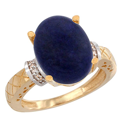 14K Yellow Gold Diamond Natural Lapis Ring Oval 14x10mm, sizes 7.5