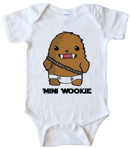 24TEE Mini Wookie Baby Chewbacca - ONESIE - White (12 MONTH) ()