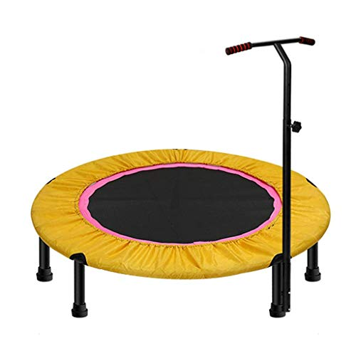 LXDDB 40inch; Exercise Trampoline for Adults or Kids, Mini Fitness Trampoline with Adjustable T-bar Stability Handle Aerobic Bouncer Trampoline for Gym/Home, Max. Load 200kg in - T-bar Stakes