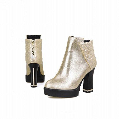Carolbar Womens Zipper Fashion Office Lady Sexy Platform High Heel Short Dress Boots Gold WpgVzwH5U9