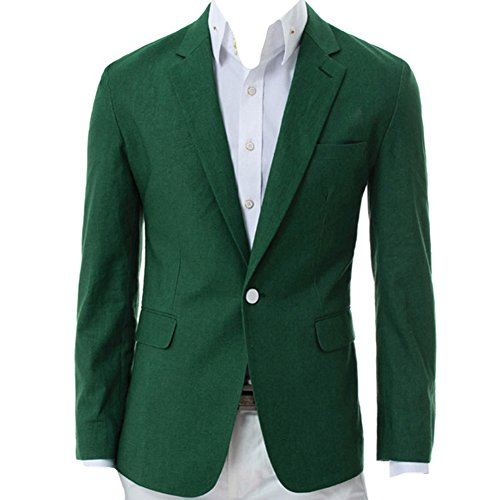 Tobey Men's Spring Casual V-Neck One Button Blazer Travel Jacket Suit Coat Tops (Asian XXL, Green)
