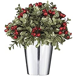 "Ganz Kissing Krystals Mistletoe and Berries Topiary in Silver Pot - Christmas Table Centerpiece,Multicolor,6-1/2""H"