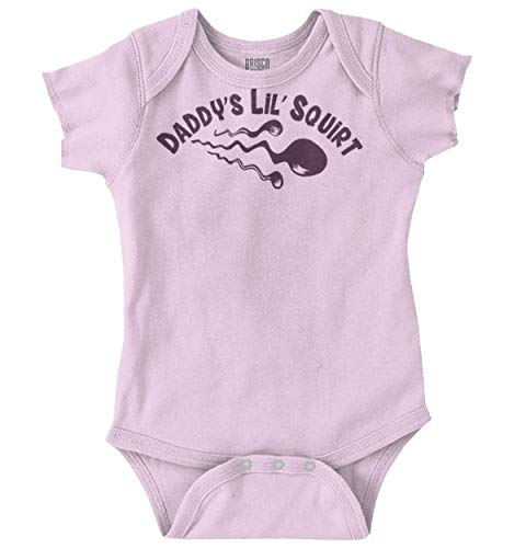 Brisco Brands Daddys Lil Squirt Offensive Crude Funny Romper Bodysuit Pink