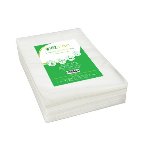 100 Quart Sized Pre-Cut Vacuum Seal Food Storage Bags. For use in all home vacuum sealing systems including FoodSaver. By EZVac. Great for Sous Vide.