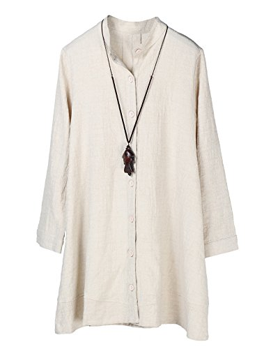 Minibee Women's Button Down Jacket Long Sleeve Jacquard Blouses Cardigan Beige M