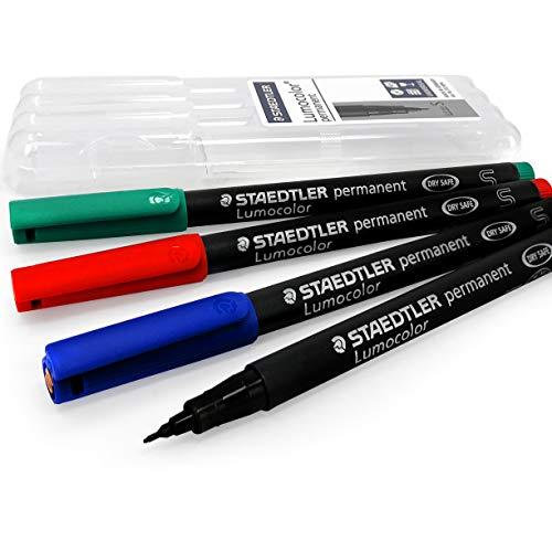 Staedtler Lumocolor Permanent Marker Pens - Superfine - Black, Blue, Red, Green - Wallet of 4