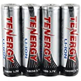 4 pcs Tenergy Li-ion 18650 Cylindrical 3.7V 2600mAh Rechargeable Batteries (Button Top) with PCB for Flashlights and Others
