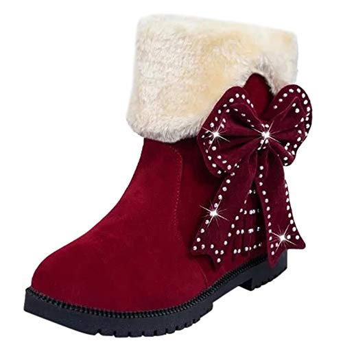 Clearance Womens Snow Boots - Realdo Winter Warm Mid Calf Bowtie Suede Slip-On Plush Shoes(US 5.5,Red)