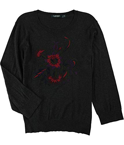 (Lauren Ralph Lauren Womens Rashida Floral Embroidered Sweater Gray L)