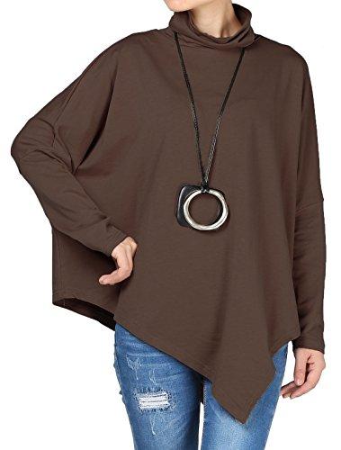 Mordenmiss Women's Turtleneck Asymmetry Hem Basic T-Shirt L Coffee