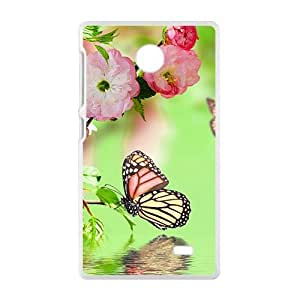 Pink Flowers And Butterflies White Phone Case for Nokia Lumia X