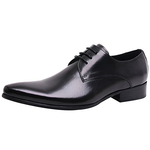 Jamron Men's High-End Custom Derby Lace-Ups Genuine Leather Pointed-Toe Formal Business Oxford Shoes Black SN01721 US9.5 (Pointed Lace Oxfords Toe)