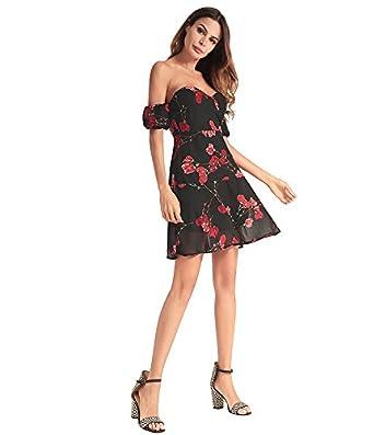 aeae64838e ZFWLKJ Women s Boho Off Shoulder Strapless Summer Beach Floral Slit Maxi  Dress (S)