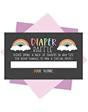 25 Rainbow Diaper Raffle Ticket Lottery Insert Cards For Girl or Boy Baby Shower Invitations, Supplies and Games For Neutral Gender Reveal Party, Bring a Pack of Diapers to Win Favors, Gift and Prizes