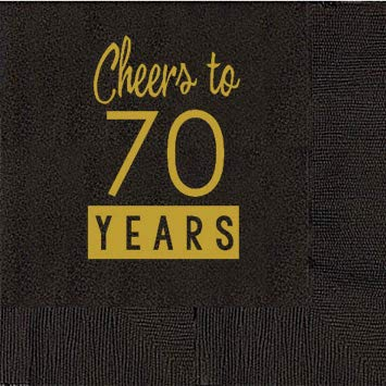 70th Birthday Black Cocktail Napkins - Cheers to 70 Years (50 napkins) by Mandeville Party Company