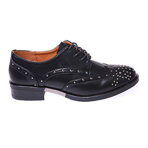 para La Zapatos Modeuse de negro mujer cordones xqBFPwqS