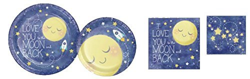 I Love You to the Moon and Back Party Pack (96 Pieces) Party for 16 by DG Shopping Spree (Image #1)