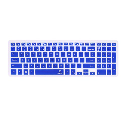FORITO Thin Dell Keyboard Cover for 15.6-inch DELL Laptop Inspiron 15 i7559, Dell Inspiron 15 3000 5000, Inspiron 17 5000 series US Layout, Keyboard Protector Dell Inspiron 15 Laptop US Layout (Blue)