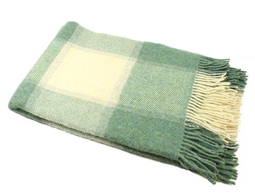 "sh Wool Blanket Knee Throw Green & White Check Small 54"" Long x 45"" Wide Fringed Warm Lambswool Made in Ireland ()"