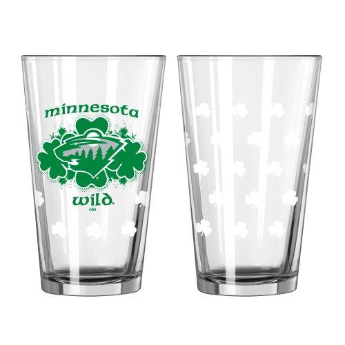NHL Minnesota Wild Shamrock Pint Glass, 16-ounce, 2-Pack Nhl Beer