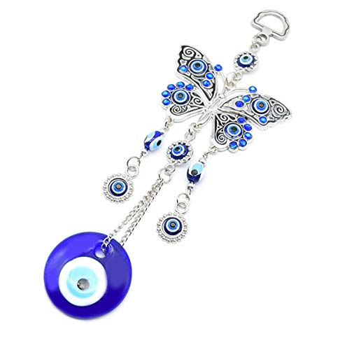 Mose Cafolo ~ Turkish Blue Evil Eye (Nazar) Butterfly Amulet with Blue Rhinestone Car Charm Rear View Mirror Wall Hanging Protection Home Decor Blessing Gift