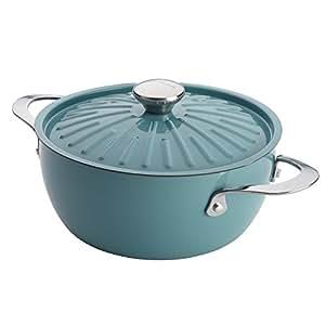 Rachael Ray Cucina Hard Porcelain Enamel Nonstick Covered Round Casserole, 4.5-Quart, Agave Blue