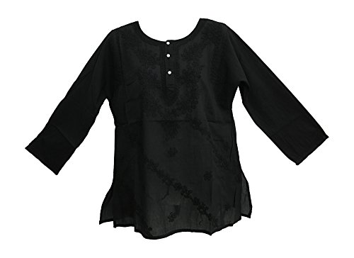 Classic Indian Gauze Cotton Embroidered Plus Long Sleeve Sixties Blouse Top (Black, Small/Medium)