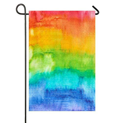 (SmallGardenflagMim Watercolor Rainbow Texture Morden Home Wallpaper Festival Personalized Garden Flag, Variety of Colors to Match Your Decor)