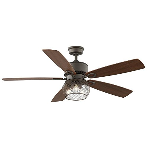 Kichler Clermont 52-in Satin natural bronze Indoor Downrod Mount Ceiling Fan with Light Kit and Remote - Satin Bronze Ceiling Fan