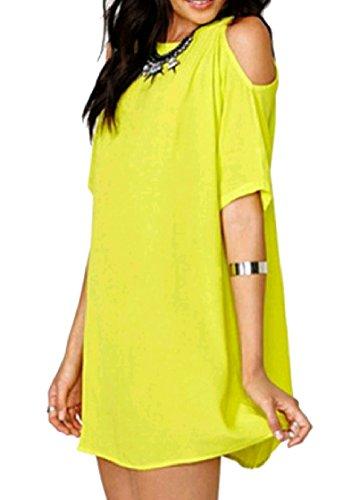 Tunic Short Coolred Pure Women Dress Sleeve Color Yellow Chiffon Casual Baggy gp8BqwxpR