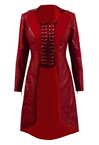 Xiao Maomi Womens Witch Cosplay Costume Red Halloween Suits Full Set (XXL, Red(Long -