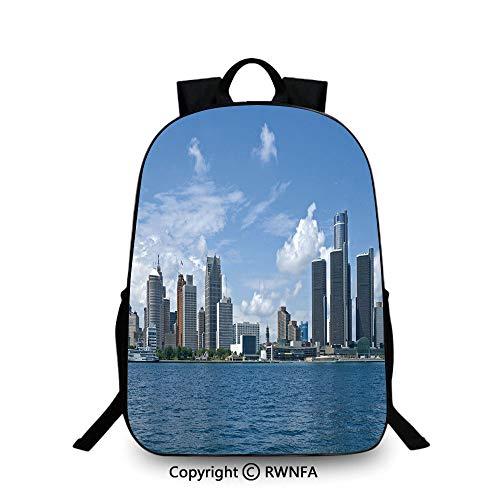 Kids Backpack Children Bookbag,Downtown Detroit GM Renaissance Center Ford Auditorium Shoreline School Backpacks For boys Light Blue White Grey ()