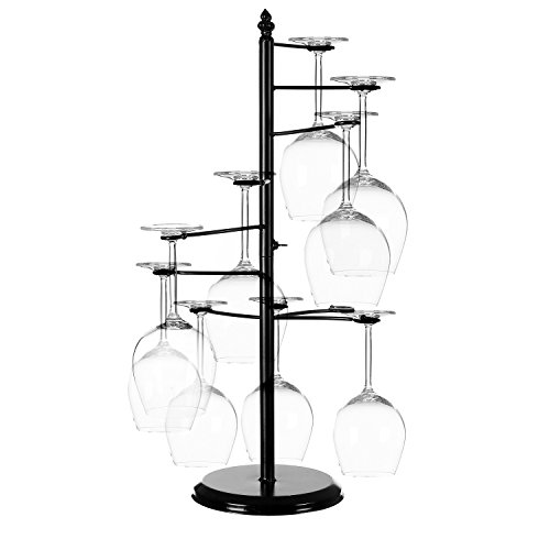 MyGift Freestanding Tabletop Stemware Rack/Spiraling 10 Wine Glass Holder, Black