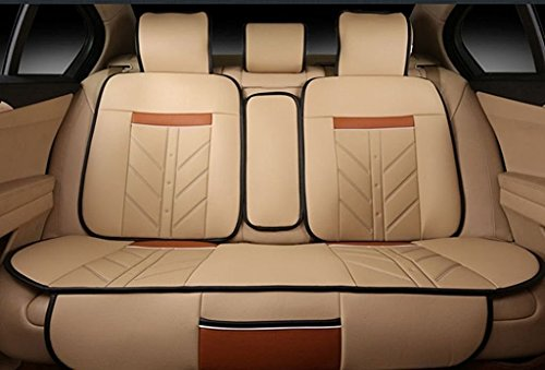 Best price for Amooca Compatible Universal Full Front Rear Ice Silk PU Fabric Car 5 Seats Cushion Cover Fit For 1.6-2.0L BMW Honda Toyota Beige 8pcs