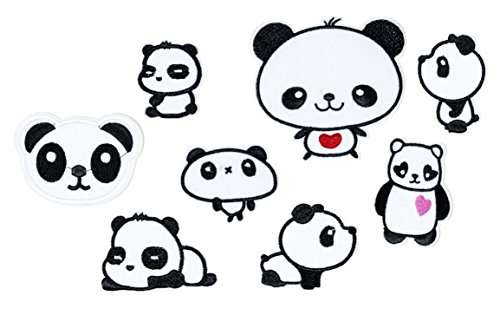 Custom Mascot Costumes Design (Set of 8 Assorted Embroidery Applique Decoration DIY Patch Panda Funny Custom design face kit iron on for shirt Jacket bag hat pant vest jean cotton clothes kid love Great as happy birthday gift…)