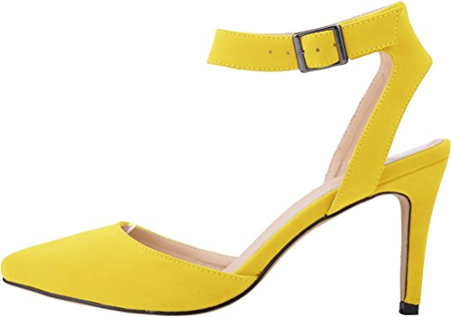 Party Buckle Ankle Closed Strap Work Yellow Salabobo Toe Nice Womens Pumps Bride Wedding Kitten Fashion Cloth gawSPxY