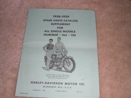 1958-1959 Harley Davidson Spare Parts Catalog Supplement for All Singles Models 125, 165 and - Harley Davidson Hummer